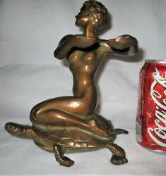 Antique Usa Mcclelland Barclay Nude Lady And Sea Turtle Bust Art Statue Sculpture