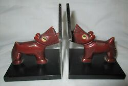 ANTIQUE BAKELITE CHROME SCOTTISH TERRIER DOG ART STATUE SCULPTURE BOOK BOOKENDS