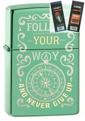 Zippo 49161 Follow Your Way Compass Design Lighter With Flint And Wick Gift Set