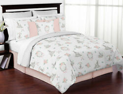 Blush Pink Grey Sweet Jojo Woodland Boho Bunny Floral Full Queen Bedding Set