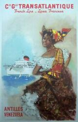 French Line By Brenet C 1950 Cie Gle Transatlantique Cruise Line Large