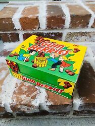 """Vintage 1974 Topps Gum Berries Bubble Gum Display Box 8.75"""" Container Candy"""