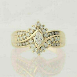 14K Yellow Gold Over Women#x27;s 2.00 Ct Marquise Cut Diamond Bypass Engagement Ring $89.99