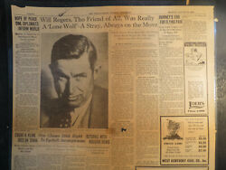 Will Rogers And Wiley Post Funderal Plane On Last Lap 1935 Newspaper