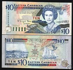 East Caribbean States Anguilla 10 Dollars P32 U 1994 Queen Ship Turtle Unc Note