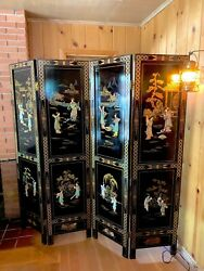 Asian 4 Part Panel / Room Divider - Black Lacquer - Engraved Art - 6 Feet Tall
