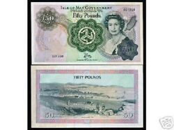 Isle Of Man 50 Pounds P-39 1983 Queen Map Unc Large European Money Bill Banknote