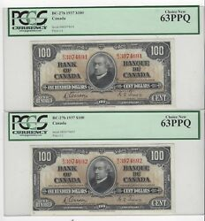 1937 Can 100 Note Bc-27b Pcgs Ms-63 Ppq Gor/tow Sn Bj 3074691 And 92 Seq Pair