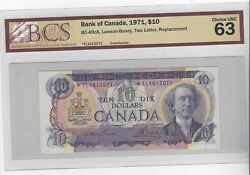 1971 Boc Bc-49ca 10 Law/bou Sn Tl 1413071 Bcs Ms-63 Replacement Note