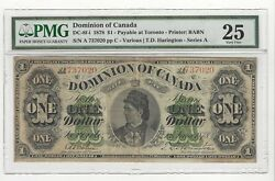 1878 Dominion Of Canada Dc-8f-i 1 Note Pmgvf-25sn A 737020 Toronto