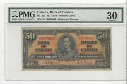 1937 Canadian 50 Dollar Note Bc-26a Pmg Vf-30 Osb/tow Sn A/h 0078687