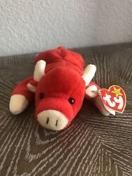 Ty Beanie Baby Snort The Bull, Style 4002, Date Of Birth 5/15/1995, Red