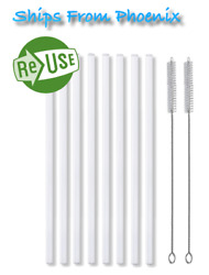 """8 New Plastic Reusable Straws 2 Cleaning Brushes Fits Hydro Flask Straw Lid 10"""" $6.95"""