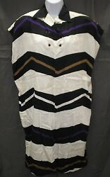 Vintage 80s Gianni Versace Made In Italy Cotton Zig Zag Print Tube Dress Sz 10