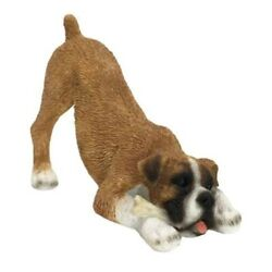 Boxer Figurine Hand Painted Uncropped Fawn w Bone Sandicast