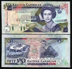 East Caribbean States St.kitts 50 Dollars P-29 K 1993 Queen Ship Bird Unc Note