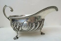 British Solid Sterling Silver Footed Sauce Boat Gravy Pitcher Birmingham 1887