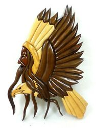 Indian Chief And Bald Eagle Intarsia Wood Inlay Multiple Pieces Of Various Woods