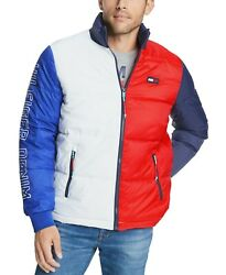 Menand039s White/apple Red Colorblocked Puffer Jacket 249