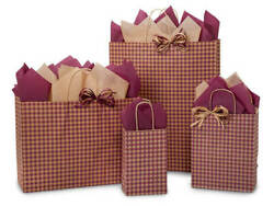BURGUNDY GINGHAM Design Print Party Gift Bag Only Choose Size & Package Amount