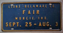 Vintage Lions Club, Delaware County Fair, Muncie,indiana In License Plate,topper