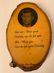 John F. Kennedy Wood Wall Plaque, Ask Not Vintage Historical Memorabilia