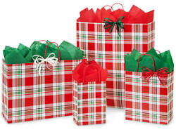 Christmas Plaid Design Print Party Gift Bag Only Choose Size And Package Amount