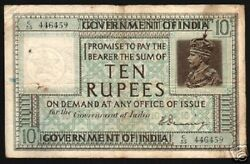 India 10 Rupees P-5 B 1917 King George V Denning V Rare Indian Currency Banknote