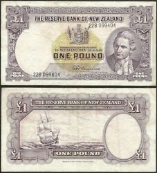 New Zealand - 1 Pound Nd 1960-67 Km 159d Oceania Banknote - Edelweiss Coins .