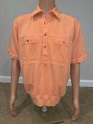 NORM THOMPSON SIZE L MENS SHIRT ORANGE PULL OVER Casual $17.50
