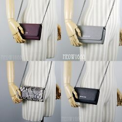 New Michael Kors Stud Crossbody Chain Wallet Clutch Black Grey Plum Snake Print $79.95