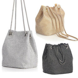 Women#x27;s Shining Crossbody Bag Evening Bag Full Rhinestones Mini Bucket Bag $17.99