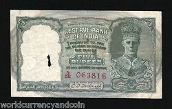 India 5 Rupees P-23 B 1943 Red Serial King George Vi Deer Rare Currency Note
