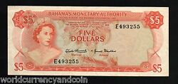 Bahamas 5 Dollars P-29 1968 Queen Govt House Queen Scarce Au- Currency Banknote