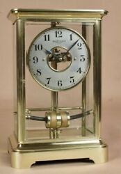 Bulle Electric Four Sided Glass And Brass Clock Circa 1910