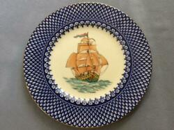 Wedgwood Sailing Ship Hand Painted With Blue Trim 10 1/2 Dnner Plate W759 5