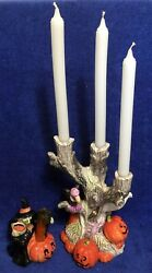 Halloween Fitz And Floyd Two Candle Holders - Witch On Pumpkin And Buzzard On Tree -