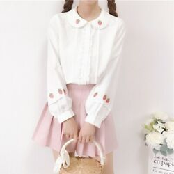Japanese Sweet Lolita Strawberry Embroidery Doll Collar Blouse Long Sleeve Tops