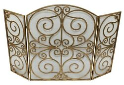 Bromley Manor 3-panel Scroll Design Fireplace Screen - Antique Gold Finish