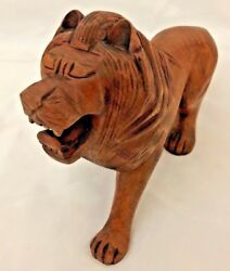 Carved 7x12 Wood Artistic Male Lion Cat Figurine
