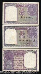 India 1 Rupee P74 A And B 1951 Coin Unc Set World Paper Money Bill 2 Pcs Bank Note