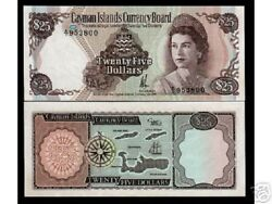 Cayman Islands 25 Dollars P8 1974 Queen Compass Fish Ship Unc Rare Currency Note