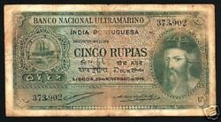 Portuguese India 5 Rupees P-35 1945 Ship Scarce Indian Bank Note Portugal