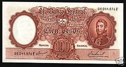 Argentina 100 Pesos P277 1967 Indian Spanish Unc Latino Currency Money Bank Note