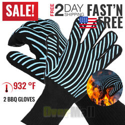 2pcs Bbq Grill Gloves, 932°f Extreme Heat Resistant Non-slip Silicone Insulated