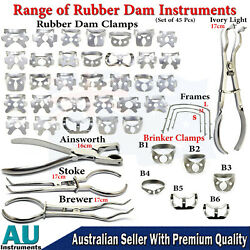 Dental Instruments Rubber Dam Kit Frame Punch Plier Brinkers Clamps Ainsworth Ce