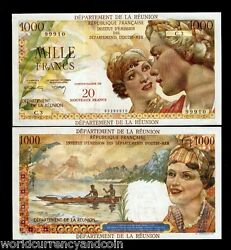Reunion Islands 20 N Francs P-55 1971 Boat Unc Large Africa Money Bill Bank Note