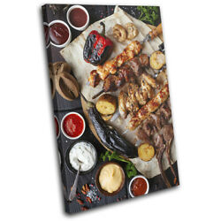 Chicken Meat Bbq Barbecue Food Kitchen Single Canvas Wall Art Picture Print