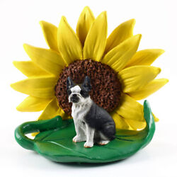 Boston Terrier Sunflower Figurine
