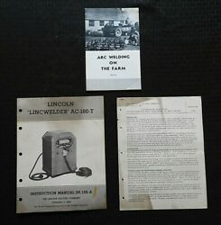 1950and039s The Lincoln Lincwelder Ac-180-t Welder Owners Operators Manual + Extras